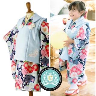キャサリンコテージ(Catherine Cottage)のキャサリンコテージ 新品 七五三 水色 ブルー 花柄 鞠 着物 被布 襦袢(和服/着物)