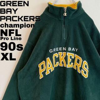 Champion - 90s パッカーズ チャンピオン ハーフジップフリース アノラック NFL XL