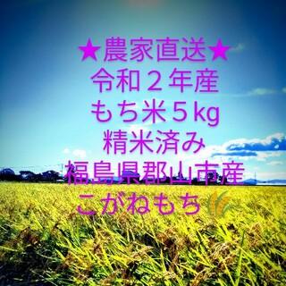 令和2年産 もち米 5kg 精米済み 福島県産 こがねもち