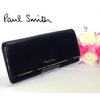 ポールスミス(Paul Smith)のポールスミス 長財布 花柄 ペタルプリントトリム 羊革 ネイビー 箱付き(長財布)