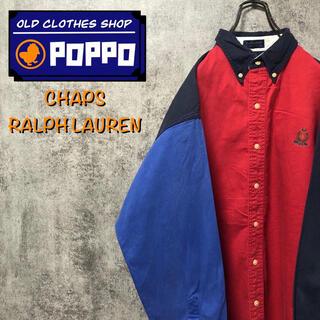 Ralph Lauren - チャップスラルフローレン☆刺繍ロゴ切替クレイジーパターンシャツ 90s