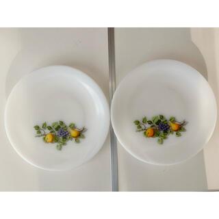 アルコパル ミルクガラス りんごと洋梨柄 23センチ皿2枚セット(食器)