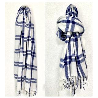ムジルシリョウヒン(MUJI (無印良品))の無印良品 マフラー チェック 白×ブルー(マフラー/ショール)