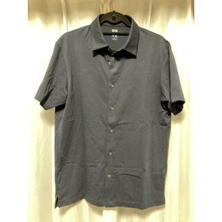 UNIQLO - 美中古品 UNIQLO ユニクロ エアリズムフルオープンポロシャツ L ネイビー