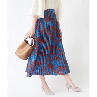 GU - 【美品】titivate 花柄 プリーツ ダークオレンジ ロング スカート