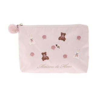 Maison de FLEUR - Maison de FLEUR くまうさ刺繍ポーチ ピンク