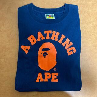 アベイシングエイプ(A BATHING APE)のA BATHING APE ネイビーTシャツSサイズ(Tシャツ/カットソー(半袖/袖なし))