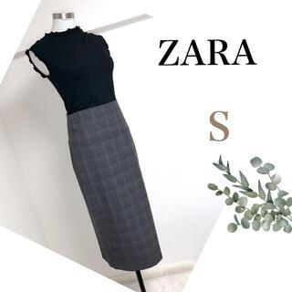 ZARA - ZARA ザラ(S)グレンチェックのロングタイトスカート