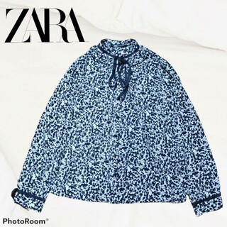 ZARA - ZARA ザラ ブラウス シャツ スタンドカラー モノトーン 立ち襟 リボン 黒