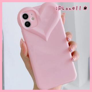【新品未使用♡】iPhone11ケース ハート ピンク 量産型 韓国 かわいい