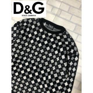 ドルチェアンドガッバーナ(DOLCE&GABBANA)のD&G ダイヤ柄 アーカイブ ウールセーター M 黒白 ドルチェ&ガッバーナ(ニット/セーター)