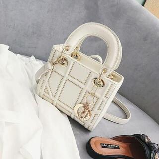 ショルダー ハンドバッグ 韓国風 人気カワイイデザイン 2Way ミニ ホワイト