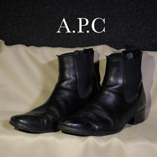 A.P.C - A.P.C ショートブーツ サイドゴアブーツ 黒 ブラック 本革