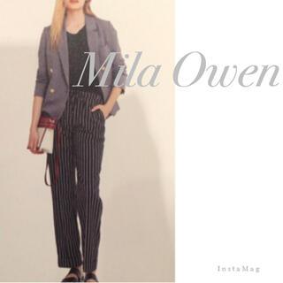 ミラオーウェン(Mila Owen)の値下げ!Mila Owen/裏地付き ストライプ ストレートパンツ(カジュアルパンツ)