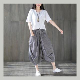 サルエルパンツ風 ストライプスカート ふんわりシルエット W64(ロングスカート)