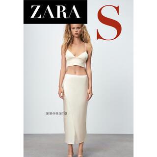 ザラ(ZARA)の【新品/未着用】 ZARA サテン風ミディ丈スカート サテンロングスカート(ロングスカート)