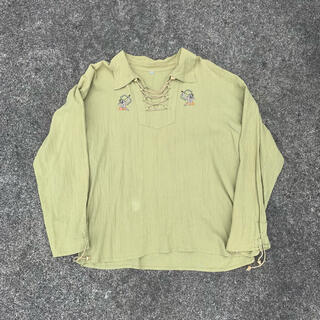 vintage レースアップシャツ ネイティブ柄 古着(シャツ)