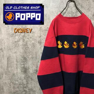 Disney - ディズニー☆くまのプーさんコミカルキャラ刺繍太ボーダースウェット