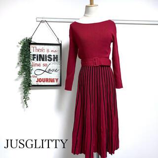 ジャスグリッティー(JUSGLITTY)の値下げ❗️JUSGLITTY 18AW ニット切り替えワンピースプリーツスカート(ロングワンピース/マキシワンピース)