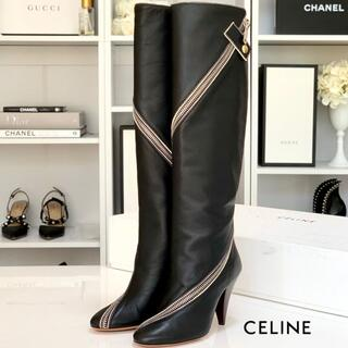 セリーヌ(celine)の3064 美品 セリーヌ レザー ファスナー ロングブーツ 黒(ブーツ)