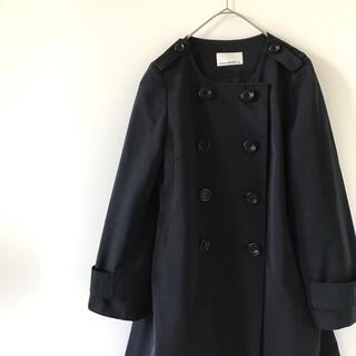 M-premier - エムプルミエブラック ノーカラーコート ナイロンジャケット 薄手 アウター