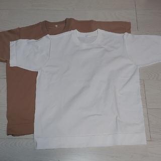 ムジルシリョウヒン(MUJI (無印良品))のTシャツ ホワイト ブラウン(Tシャツ(半袖/袖なし))