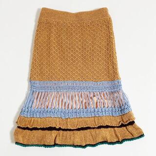 リリーブラウン(Lily Brown)のリリー ブラウン マクラメスカート フリー オレンジ USED(ひざ丈スカート)