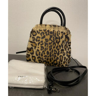 トゥモローランド(TOMORROWLAND)の保存袋付き*美品 VASIC レオパード ファー レザー2wayバッグ(ハンドバッグ)
