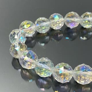 A1274-2 水晶 96面トライアングルカットレインボーオーラ ブレスレット