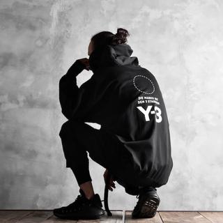 ワイスリー(Y-3)の美品)Y-3 18aw M Stacked Logo Hoodie / パーカー(パーカー)