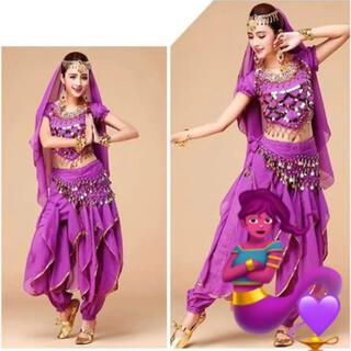 ハロウィン コスプレ アラジン インディア ベリーダンス パープル 紫 衣装
