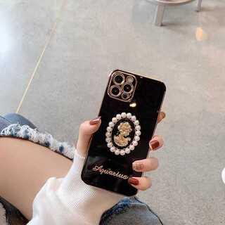 iPhone12 ケース TPU カメオ 立体パール 黒 韓国 ポップ 真珠