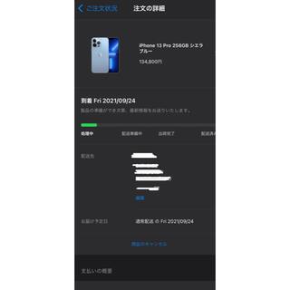 iPhone - SIMフリー iPhone13  pro シエラブルー 256G 発売日到着