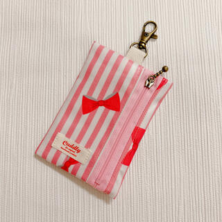 ランドセルキーケース 女の子 リボン ストライプ ピンク(外出用品)