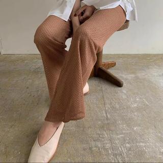 lady mesh knit pants   Pale orange