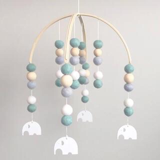 【新品】Amieux 北欧風ベッドメリー Green &Elephant