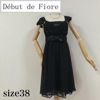 デビュードフィオレ(Debut de Fiore)のデビュードフィオレ シフォンワンピース ブラック(ひざ丈ワンピース)