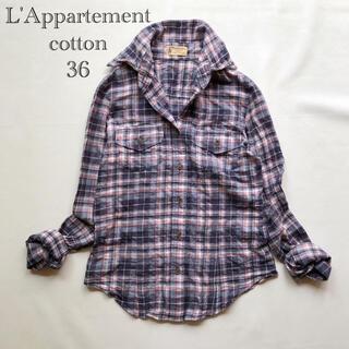L'Appartement DEUXIEME CLASSE - 529アパルトモン ドゥーズィエムクラス ワイヤー襟くすみカラーチェックシャツ
