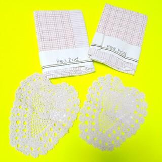 ディシュクロス&ハート型綿網レース(ラブドイリー)4点(2種)新品(その他)