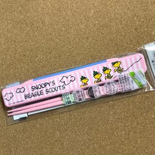 スヌーピー(SNOOPY)の音の鳴らない箸・箸箱セット☆スヌーピー☆ウッドストック(弁当用品)