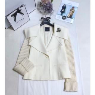 FOXEY - フォクシー《Rib Sleeve Jacket》ホワイト 40