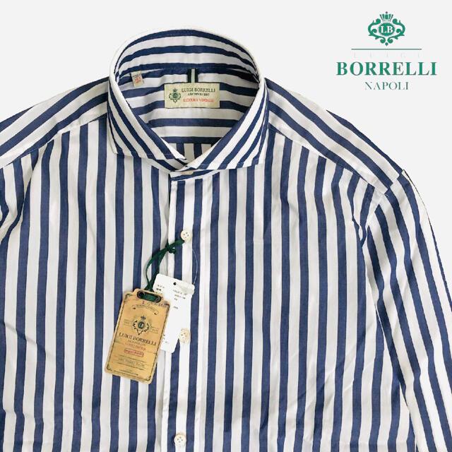 LUIGI BORRELLI(ルイジボレッリ)の新品 LUIGI BORRELLI ストライプ ホリゾンタルカラー シャツ 40 メンズのトップス(シャツ)の商品写真
