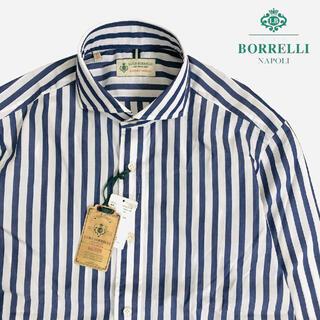 LUIGI BORRELLI - 新品 LUIGI BORRELLI ストライプ ホリゾンタルカラー シャツ 40