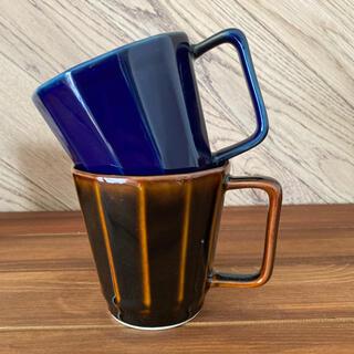 HASAMI - 新品☆波佐見焼 12角形マグカップ2個 ブラウン&ネイビー カフェ風