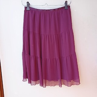 プーラフリーム(pour la frime)のpour la frime  スカート 膝丈 紫 ボルドー(ひざ丈スカート)