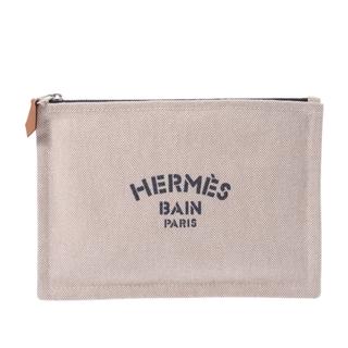 Hermes - エルメス  ニューヨッティングPM ポーチ ベージュ/ネイビー