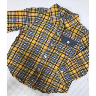 babyGap ギンガムチェック柄 長袖シャツ 90サイズ オレンジ系