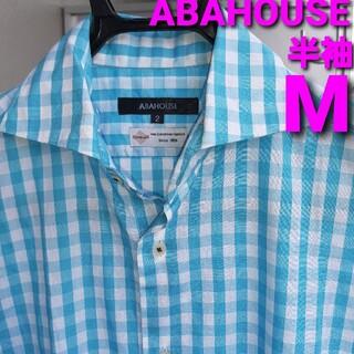 ABAHOUSE - 【美品】ABAHOUSE 半袖シャツ メンズM ギンガム ホリゾンタルカラー