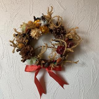 ドライフラワー 松ぼっくり どんぐり 木の実 ハンドメイド クリスマス 飾り♪(リース)