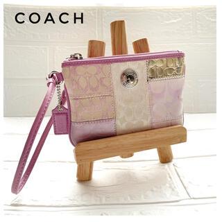 COACH - COACH コーチ ポーチ ウォレット  シグネチャー  ピンク リストレット